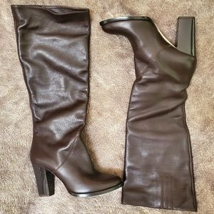 Leather Jimmy Choo London Brown Knee High Boots.
